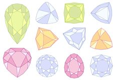 Gem stones,. Set of gem stones, illustration vector illustration