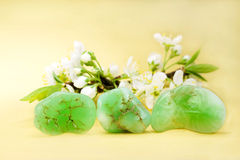 Gem Stones. Semi precious stones and apple blossoms Stock Images