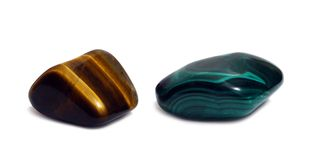 Gem stones - agat and malachite Stock Image