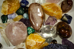 Gem stones background. Mixture of colorful gem stones Royalty Free Stock Image