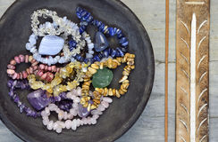 Gem stones and crystals with incense Royalty Free Stock Images