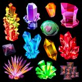 Gema de piedra cristalina del vector cristalino y piedra preciosa preciosa para el sistema del ejemplo de la joyería de joya o de libre illustration