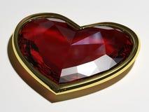 Gema no formulário um coração em um quadro do ouro Imagem de Stock Royalty Free