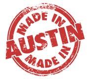 Gemaakt in Austin Texas Round Red Ink Grunge-Zegel Trotse Oorsprong Stock Foto's