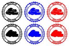 Gemaakt in Bhutan rubberzegel Royalty-vrije Stock Afbeelding