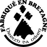 Gemaakt in Bretagne ` etiketteert vectormalplaatjes met tekens in Franse en Bretonse talen Stock Fotografie