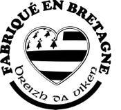 Gemaakt in Bretagne ` etiketteert vectormalplaatjes met tekens in Franse en Bretonse talen Royalty-vrije Stock Foto