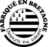 Gemaakt in Bretagne ` etiketteert vectormalplaatjes met tekens in Franse en Bretonse talen Stock Foto