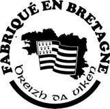 Gemaakt in Bretagne ` etiketteert vectormalplaatjes met tekens in Franse en Bretonse talen Royalty-vrije Stock Fotografie