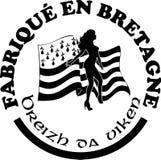 Gemaakt in Bretagne ` etiketteert vectormalplaatjes met tekens in Franse en Bretonse talen Royalty-vrije Stock Foto's