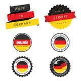 Gemaakt in de etiketten, de kentekens en de stickers van Duitsland Stock Fotografie