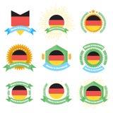 Gemaakt in de etiketten en de kentekens van Duitsland Gemaakt in het embleemreeks van Duitsland Royalty-vrije Stock Fotografie