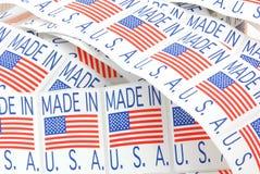 Gemaakt in de etiketten van de V.S. stock fotografie