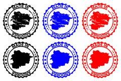 Gemaakt in de rubberzegel van Andorra Stock Foto