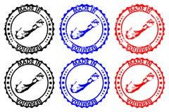 Gemaakt in de rubberzegel van de Bermudas Stock Afbeeldingen