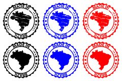 Gemaakt in de rubberzegel van Brazilië Stock Afbeelding