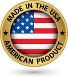 Gemaakt in de V.S. Amerikaans product gouden etiket met vlag, vectoril vector illustratie