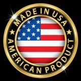 Gemaakt in de V.S. Amerikaans product gouden etiket, vectoril Stock Fotografie