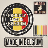Gemaakt in de zegel en de etiketten van België stock illustratie