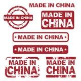 Gemaakt in de zegels van China grunge Stock Foto's