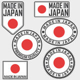 Gemaakt die in het etiket van Japan met vlag, vector wordt geplaatst Royalty-vrije Stock Foto