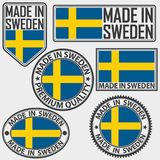 Gemaakt die in het etiket van Zweden met vlag wordt geplaatst, in Zweden wordt gemaakt, vectorillus Stock Foto's