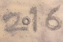 2016 gemaakt door grond op hout Stock Foto