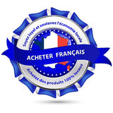 Gemaakt in Frankrijk, ondersteun de nationale economie - lint Stock Afbeelding