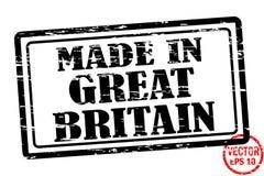 Gemaakt in Groot-Brittannië - het malplaatje van grunged zwarte vierkante die zegel voor zaken op witte achtergrond worden geïsol Stock Afbeelding