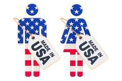 Gemaakt in het concept van de V.S., ondertekenen de man en de vrouw, het 3D teruggeven Stock Illustratie