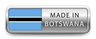 GEMAAKT IN het metaalkenteken van BOTSWANA met nationale die vlag op witte achtergrond wordt geïsoleerd royalty-vrije illustratie