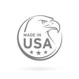 Gemaakt in het pictogram van de V.S. met Amerikaans Eagle-embleem Vector illustratie Stock Fotografie