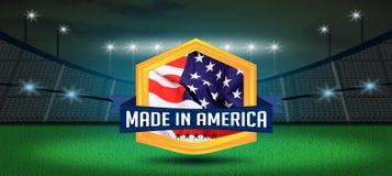 Gemaakt in het schild van Amerika de V.S. op de Achtergrond van het Voetbalstadion Royalty-vrije Stock Afbeeldingen