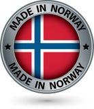 Gemaakt in het zilveren etiket van Noorwegen met vlag, vectorillustratie stock illustratie