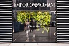 GEMAAKT IN ITALIË: De opslag van Armani van Emporio Stock Afbeeldingen