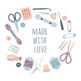 Gemaakt met liefde Hobbyhulpmiddelen in rond cirkelkader vector illustratie