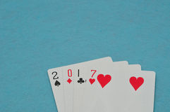 2017 gemaakt uit speelkaarten Stock Foto's