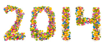 2014 gemaakt van confettien Stock Afbeelding