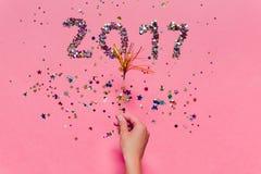 2017 gemaakt van confettien Stock Afbeeldingen