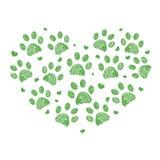 Gemaakt van hart met de groene achtergrond van de pootdruk Royalty-vrije Stock Fotografie