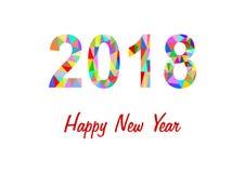 2018 gemaakt van kleurrijke driehoeken en HNY Stock Fotografie