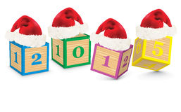 2015 gemaakt van stuk speelgoed blokken met Kerstmishoeden Royalty-vrije Stock Fotografie