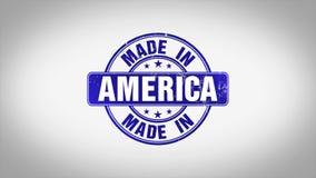 Gemacht in Amerika-Wort 3D belebte hölzerne Stempel-Animation lizenzfreie abbildung