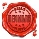 Gemacht in Dänemark - Stempel auf rotem Wachssiegel. Stockbild