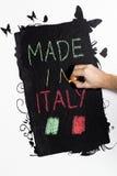 Gemacht in Italien-handwrite auf Tafel lizenzfreie stockfotos