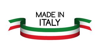 Gemacht in Italien-Symbol, italienische Trikolore Stockbild