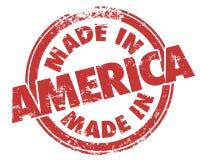 Gemacht in runder roter hergestelltem Produkt Schmutz-Stempel USA Amerikas lizenzfreie abbildung