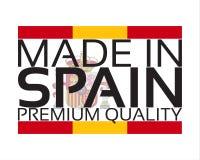 Gemacht in Spanien-Ikone, erstklassiger Qualitätsaufkleber mit spanischen Farben Stockbild