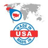 Gemacht in USA, Amerika-Stempel Weltkarte mit rotem Land Vektor e stock abbildung