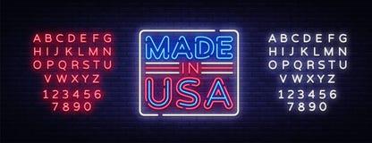 Gemacht USA-im Neonvektorzeichen Gemacht im USA-Symbolfahnenlicht, helle Nachtillustration Auch im corel abgehobenen Betrag bearb lizenzfreie abbildung